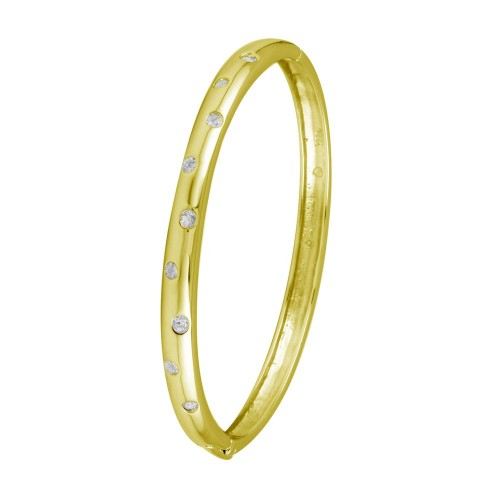 Wholesale Sterling Silver 925 Gold Plated Clear CZ Dotted Bangle Bracelet - STB00340GP