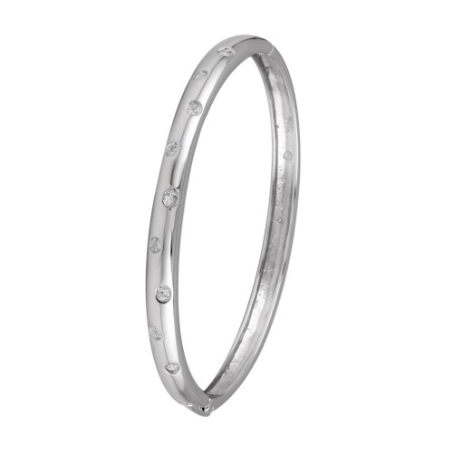 Wholesale Sterling Silver 925 Rhodium Plated Clear CZ Bangle Bracelet - STB00340RH