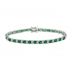 Sterling Silver Rhodium Plated Green and Clear CZ Tennis Bracelet - STB00344GR