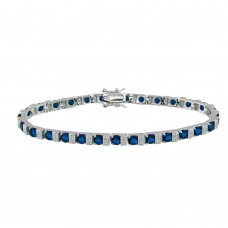 Sterling Silver Rhodium Plated Clear and Blue CZ Tennis Bracelet - STB00344BL