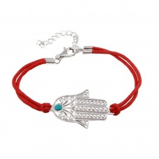 Wholesale Sterling Silver 925 Rhodium Plated Filigree Hamsa Red Cord Bracelet - STB00350