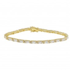 Wholesale Sterling Silver 925 Gold Plated Clear Baguette CZ Tennis Bracelet - STB00359