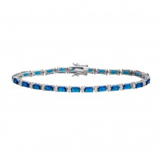 Wholesale Sterling Silver 925 Gold Plated Clear and Blue Baguette CZ Tennis Bracelet - STB00359BLU