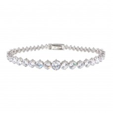 Sterling Silver Rhodium Plated Graduated Clear CZ Tennis Bracelet - STB00384