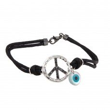 Wholesale Sterling Silver 925 Rhodium Plated Black CZ Peace Sign and Evil Eye Black Cord Bracelet - STB00409