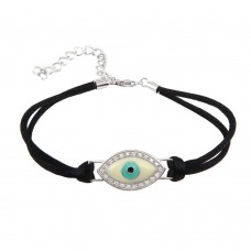 Wholesale Sterling Silver 925 Rhodium Plated Small Evil Eye Clear CZ Black Cord Bracelet - STB00412