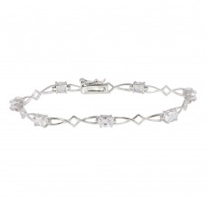 Sterling Silver Rhodium Plated Clear CZ Open Link Bracelet - STB00425