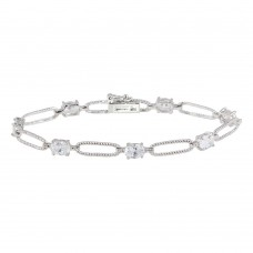 Sterling Silver Rhodium Plated Clear CZ Large Link Bracelet - STB00429