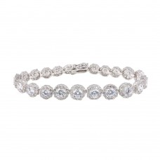 Sterling Silver Rhodium Plated Clear CZ Cluster Bracelet - STB00430