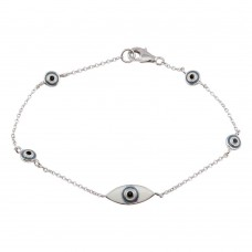 Wholesale Sterling Silver 925 Rhodium Plated Evil Eye Bracelet - STB00494
