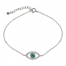 Wholesale Sterling Silver 925 Rhodium Plated Evil Eye CZ Bracelet - STB00500