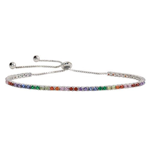Wholesale Sterling Silver 925 Rhodium Plated Multi-Colored CZ Tennis Bracelet - STB00534RB