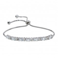 Wholesale Sterling Silver 925 Rhodium Plated CZ Stone Lariat Bracelet - STB00554