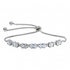 Wholesale Sterling Silver 925 Rhodium Plated CZ Stone Lariat Bracelet - STB00555