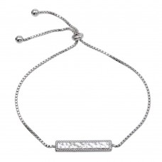 Sterling Silver Rhodium Plated Bar Lariat Necklace - STB00566
