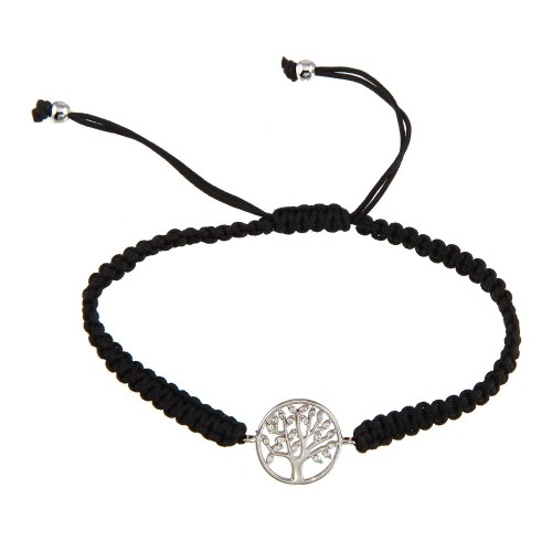 Wholesale Sterling Silver 925 Rhodium Plated Family Tree Black Braided Cord Bracelet - STB00557