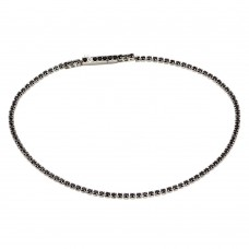 Sterling Silver Rhodium Plated Tennis Bracelet with Black CZ - STB00558BLK