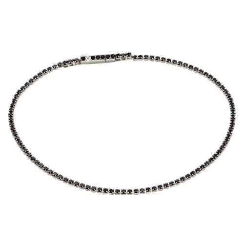 Wholesale Sterling Silver 925 Rhodium Plated Tennis Bracelet with Black CZ - STB00558BLK
