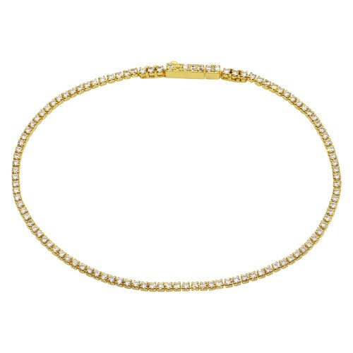 Wholesale Sterling Silver 925 Gold Plated CZ Tennis Bracelet - STB00558GP