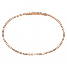 Sterling Silver Rose Gold Plated Tennis Bracelet with CZ Stones - STB00558RGP