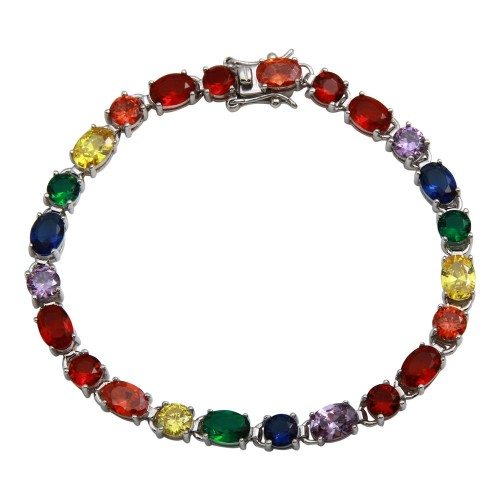 Wholesale Sterling Silver 925 Rhodium Plated Multi-Color Tennis Bracelet - STB00560RB