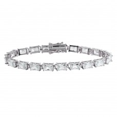 Wholesale Sterling Silver 925 Rhodium Plated Rectangle CZ Tennis Bracelet - STB00561