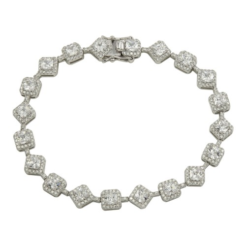 Wholesale Sterling Silver 925 Rhodium Plated Square CZ Tennis Bracelet - STB00562