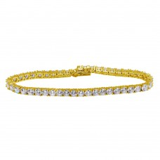 Wholesale Sterling Silver 925 Gold Plated CZ Tennis Bracelet - STB00565GP