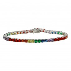 Wholesale Sterling Silver 925 Rhodium Plated Round Rainbow CZ Tennis Bracelet - STB00565RB