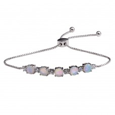 Wholesale Sterling Silver 925 Rhodium Plated CZ and Synthetic Opal Lariat Bracelet - STB00566RH