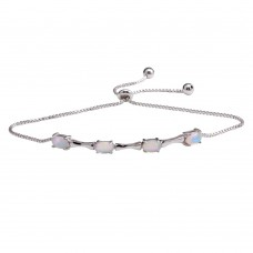 Wholesale Sterling Silver 925 Rhodium Plated Bar and Synthetic Pearl Lariat  Bracelet - STB00567RH