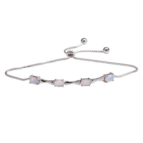 Wholesale Sterling Silver 925 Rhodium Plated Bar and Synthetic Opal Lariat  Bracelet - STB00567RH