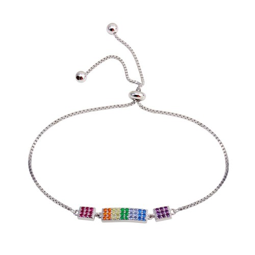 Wholesale Sterling Silver 925 Rhodium Plated Multi Color Rainbow CZ Bar Lariat Bracelet - STB00570