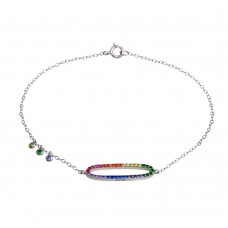 Wholesale Sterling Silver 925 Rhodium Plated Multi Color CZ Open Oval Bracelet - STB00571