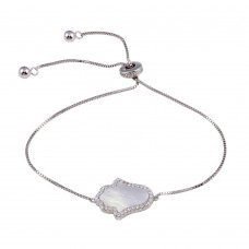 Wholesale Sterling Silver 925 Rhodium Plated Lariat Side Way Mother of Pearl Hamsa CZ Bracelet - STB00574