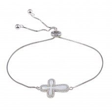 Wholesale Sterling Silver 925 Rhodium Plated Lariat Side Way Mother of Pearl Cross CZ Bracelet - STB00575