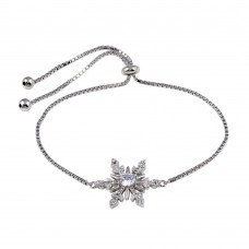 Wholesale Sterling Silver 925 Rhodium Plated Lariat Snow Flake CZ Bracelet - STB00576