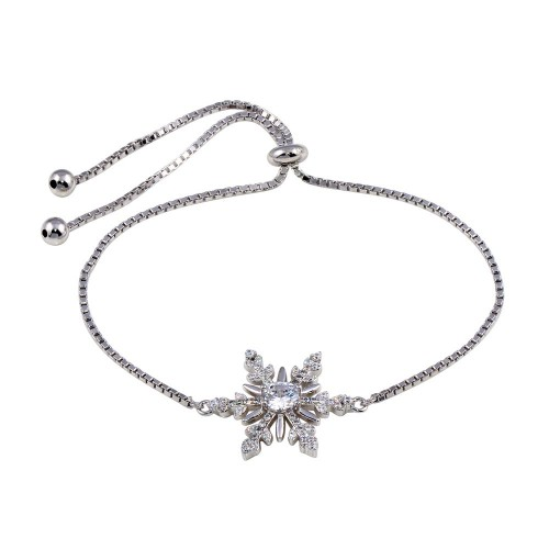Wholesale Sterling Silver 925 Rhodium Plated Lariat Snow Flakes CZ Bracelet - STB00576