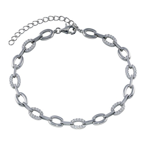 Wholesale Sterling Silver 925 Rhodium Plated Oval CZ Bracelet - STB00579