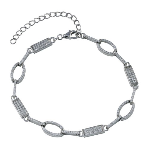Wholesale Sterling Silver 925 Rhodium Plated Oval and Bar CZ Bracelet - STB00583