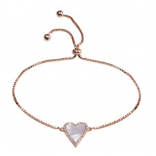 Wholesale Sterling Silver 925 Rose Gold Plated Lariat MOP CZ Heart Bracelet - STB00584RGP
