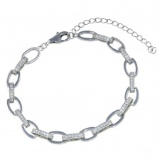 Wholesale Sterling Silver 925 Rhodium Plated Oval CZ Bracelet - STB00586