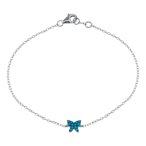 Wholesale Sterling Silver 925 Rhodium Plated Turquoise Butterfly Bracelet - STB00588