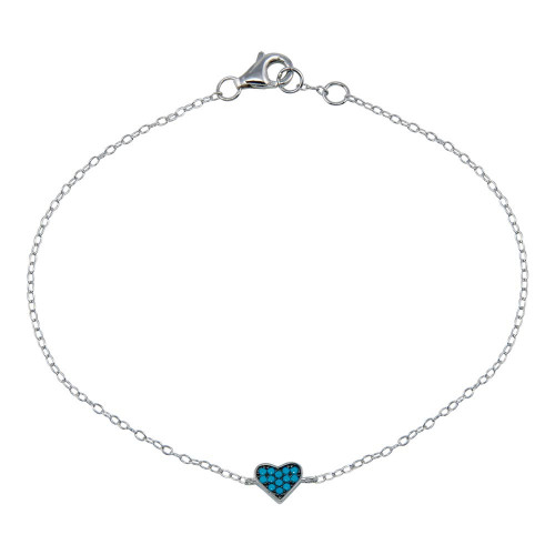 Wholesale Sterling Silver 925 Rhodium Plated Turquoise Heart Bracelet - STB00589-BLU