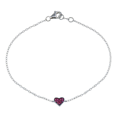 Wholesale Sterling Silver 925 Rhodium Plated CZ Heart Bracelet - STB00589-RED