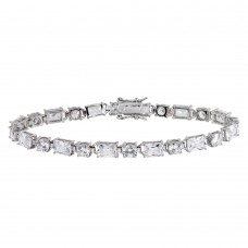 Wholesale Sterling Silver 925 Rhodium Plated Round and Rectangle CZ Tennis Bracelet - STB00559