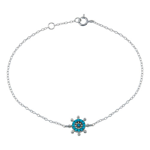Wholesale Sterling Silver 925 Rhodium Plated Turquoise Galver Bracelet - STB00590