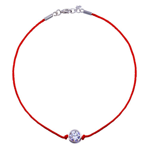 Wholesale Sterling Silver 925 Rhodium Plated Single CZ Red Cord Bracelet - STB00592
