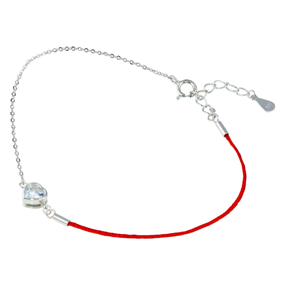 Wholesale Sterling Silver 925 Rhodium Plated Single Heart CZ Red Cord Bracelet - STB00593