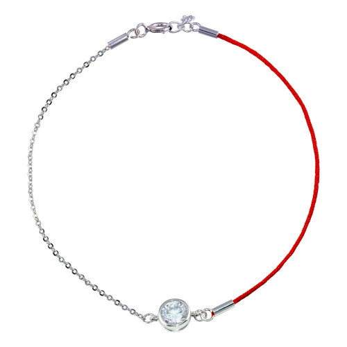 Wholesale Sterling Silver 925 Rhodium Plated Round CZ Red Cord Bracelet - STB00596